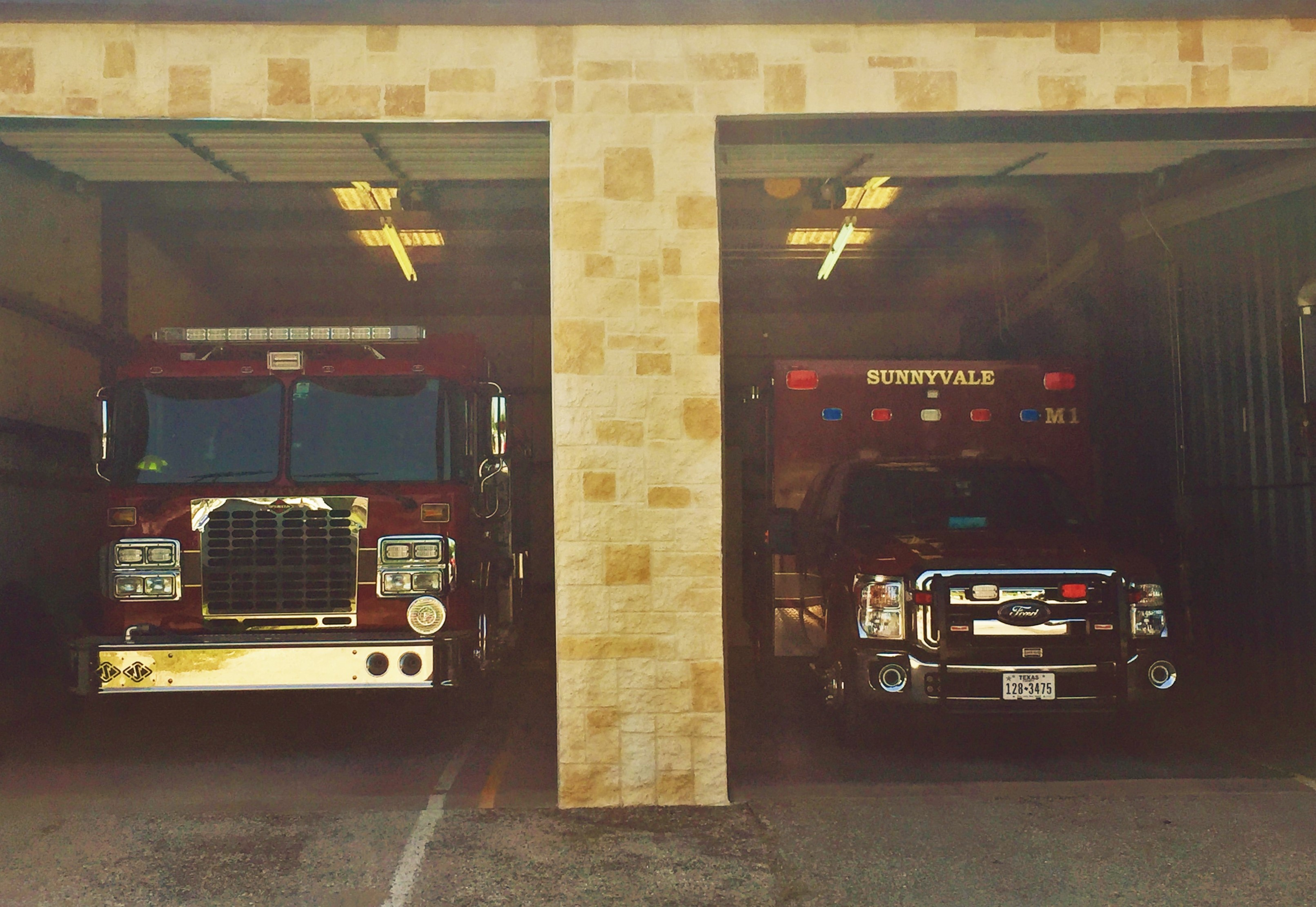Trucks Inside Fire Station